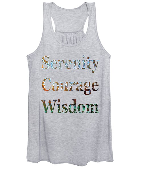 Women's Tank Top featuring the digital art Serenity Courage Wisdom 1005 by Corinne Carroll