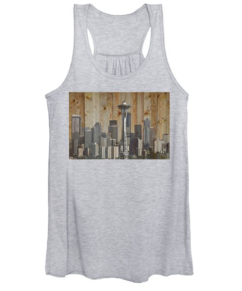 Skyline Of Seattle, Usa On Wood Women's Tank Top
