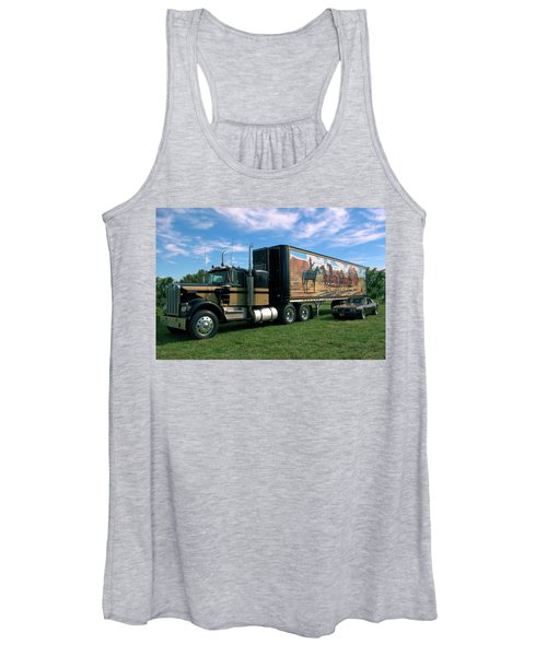 Smokey And The Bandit Tribute  Kenworth W900 Black And Gold Semi Truck Women's Tank Top