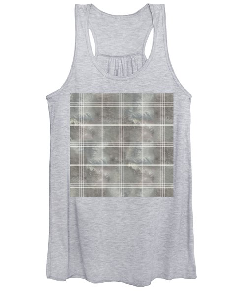 Soft Textured Cream And Blue Plaid Women's Tank Top