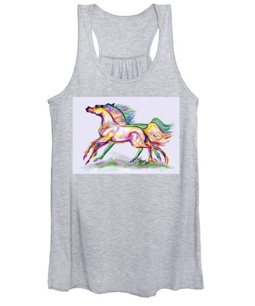 Crayon Bright Horses Women's Tank Top