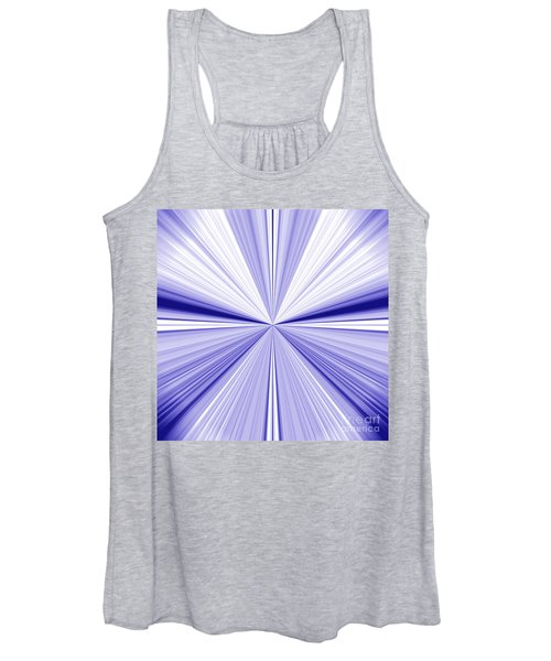 Starburst Light Beams In Blue And White Abstract Design - Plb455 Women's Tank Top