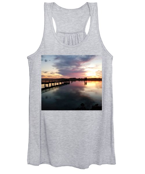 The Hollering Place Pier At Sunset Women's Tank Top