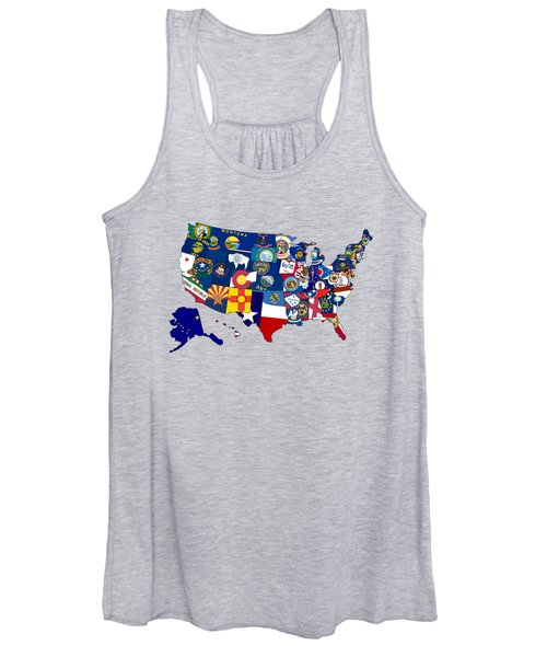 Usa States Flags Map Women's Tank Top