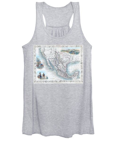 Vingage Map Of Texas, California And Mexico Women's Tank Top