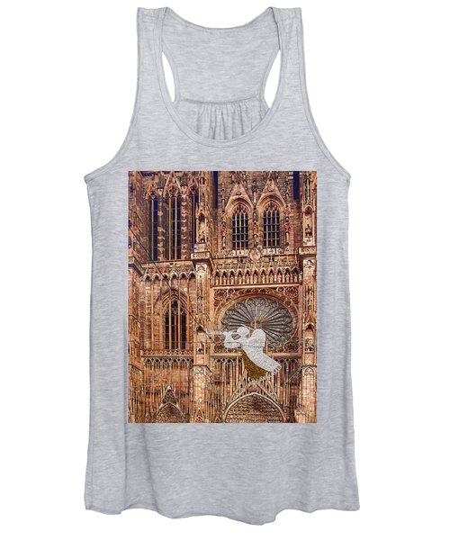 White Angel Decorations On Shops At The Christmas Market Women's Tank Top