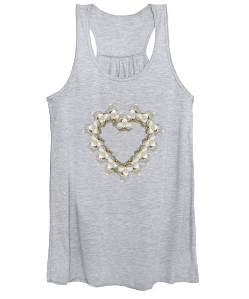 White Orchid Floral Heart Love And Romance Women's Tank Top