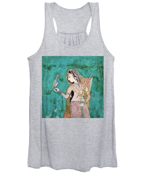 Woman With Parrot Women's Tank Top