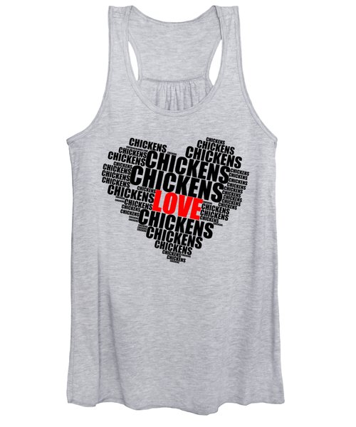 Wordcloud Love Chickens Black Women's Tank Top