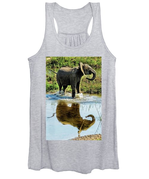 Young Elephant Playing In A Puddle Women's Tank Top
