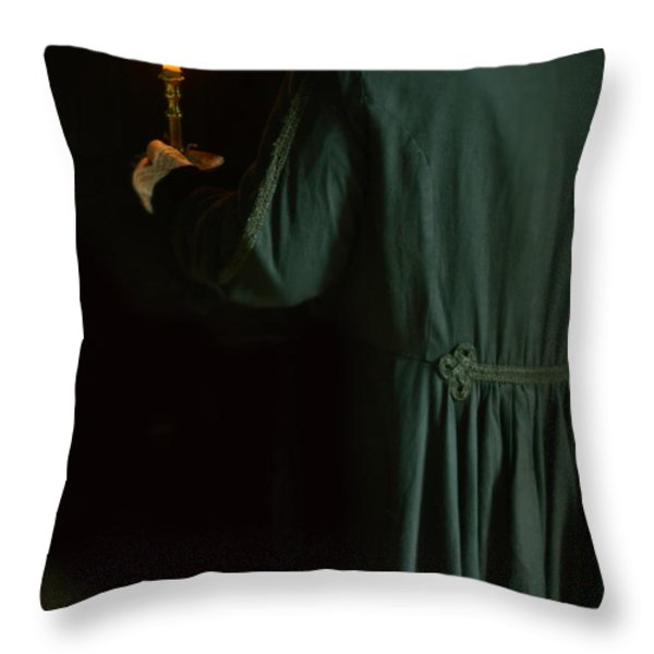 Gentleman In 18th Century Clothing With A Candle Throw Pillow by Jill Battaglia