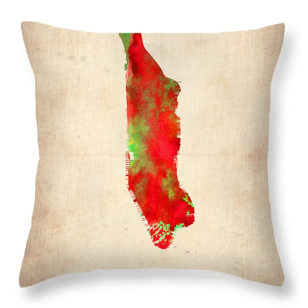 Manhattan Watercolor Map Throw Pillow by Naxart Studio