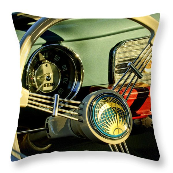 1956 Volkswagen Vw Bug Steering Wheel 2 Throw Pillow by Jill Reger