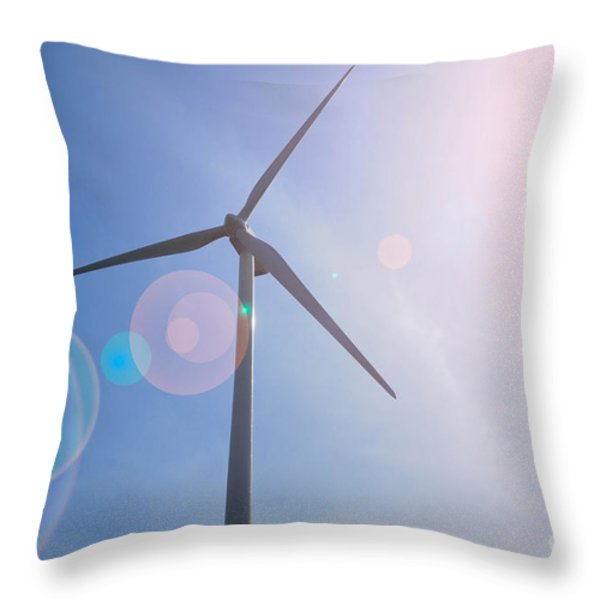 Wind Turbine Throw Pillow by Amy Cicconi