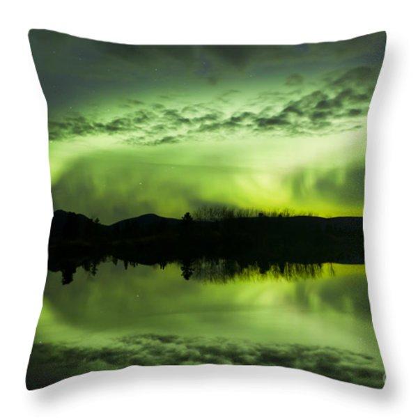 Aurora Borealis Over Fish Lake Throw Pillow by Joseph Bradley