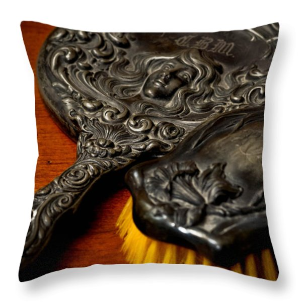 Antique Mirror And Brush Throw Pillow by Amy Cicconi