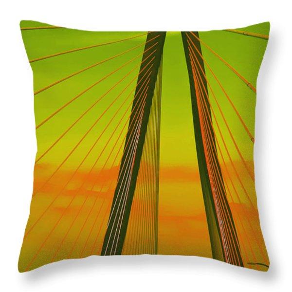 Arthur Ravenel Jr Bridge V Throw Pillow by DigiArt Diaries by Vicky B Fuller