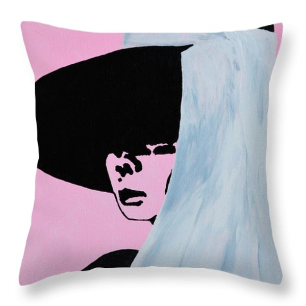 Audrey Hepburn Wears A Hat Throw Pillow by Alys Caviness-Gober