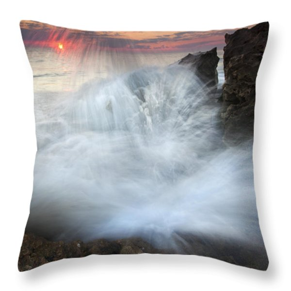 Blowing Rocks Sunrise Explosion Throw Pillow by Mike  Dawson