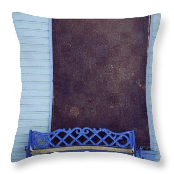 Blue Bench Throw Pillow by Priska Wettstein