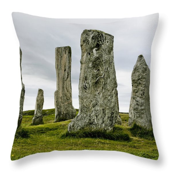 Callanish Standing Stones Throw Pillow by Toby Adamson