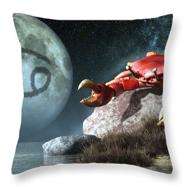 Cancer Zodiac Symbol Throw Pillow by Daniel Eskridge