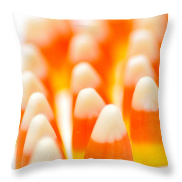 Candy Corn Army Throw Pillow by Amy Cicconi