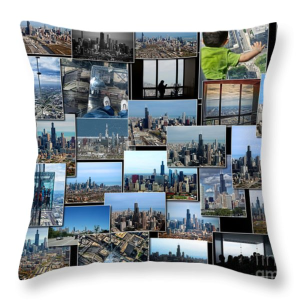 Chicago's Sears Willis Tower Collage Throw Pillow by Thomas Woolworth
