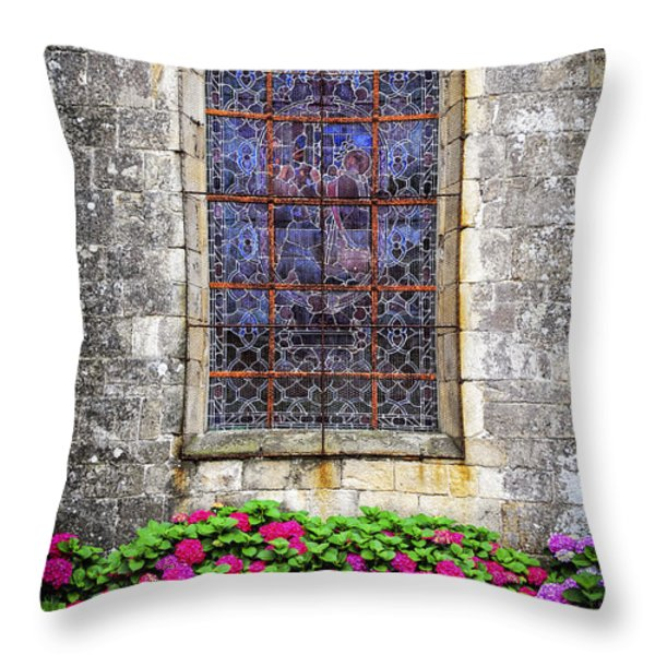 Church Window In Brittany Throw Pillow by Elena Elisseeva