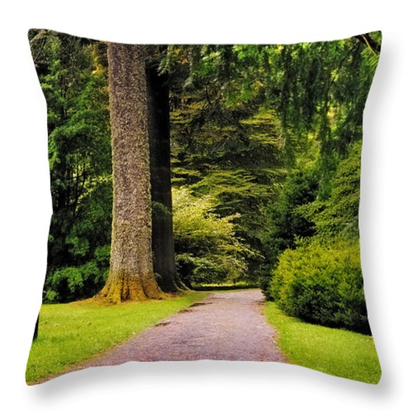 Come Sit With Me. Benmore Botanical Garden. Scotland Throw Pillow by Jenny Rainbow