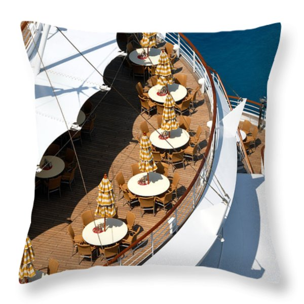 Cruise Ship Symmetry Throw Pillow by Amy Cicconi