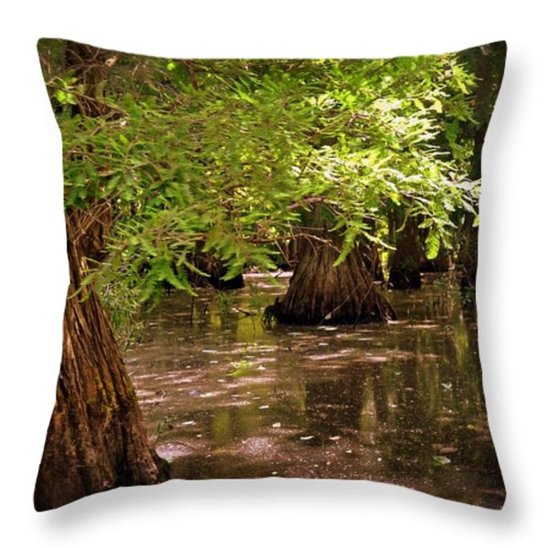 Cypress Swamp Throw Pillow by Marty Koch
