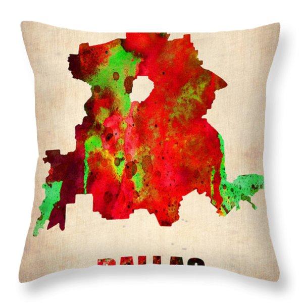 Dallas Watercolor Map Throw Pillow by Naxart Studio