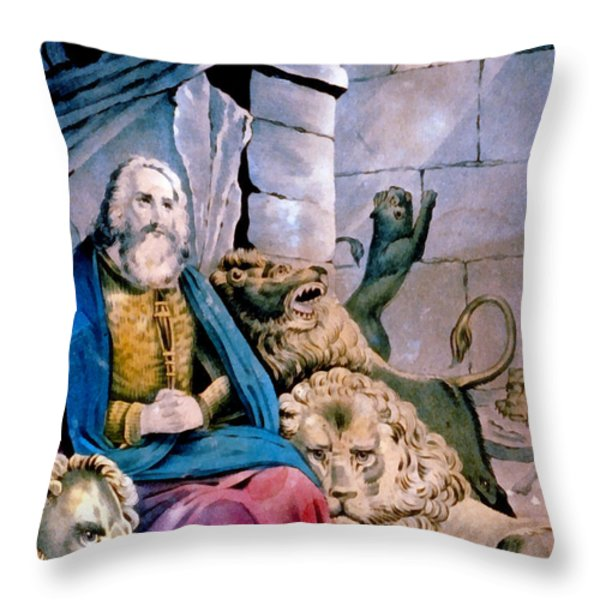 Daniel In The Lions Den Throw Pillow by Currier and Ives