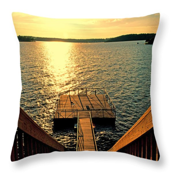 Down To The Fishing Dock - Lake Of The Ozarks Mo Throw Pillow by Debbie Portwood