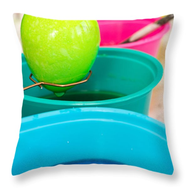Dying Easter Eggs Throw Pillow by Edward Fielding