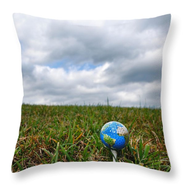 Earth Golf Ball On Tee Throw Pillow by Amy Cicconi