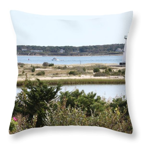 Edgartown Lighthouse With Wildflowers Throw Pillow by Carol Groenen