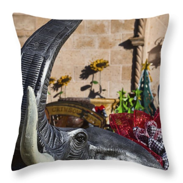 Elephant Celebration Throw Pillow by Kathy Clark