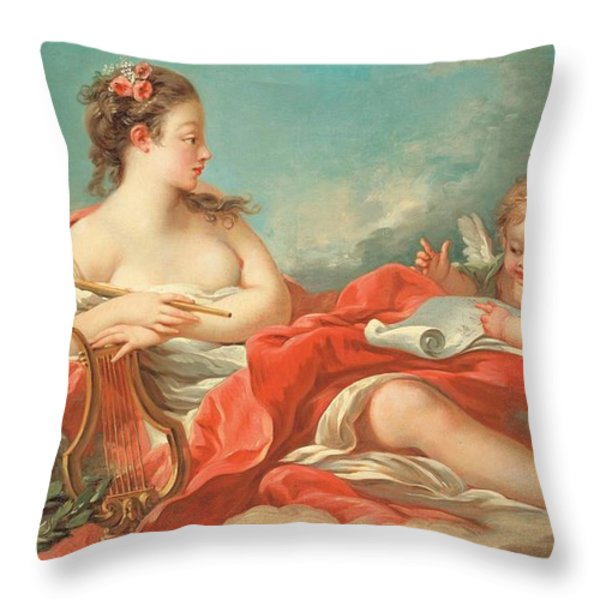 Erato  The Muse Of Love Poetry Throw Pillow by Francois Boucher