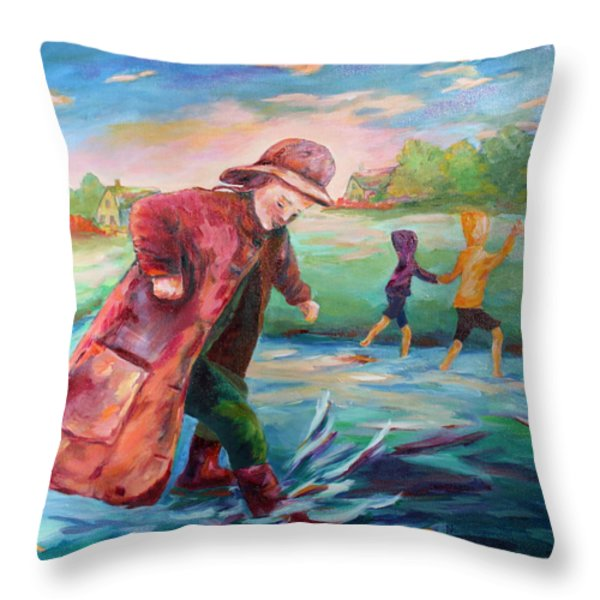 Exploring Puddles Throw Pillow by Naomi Gerrard