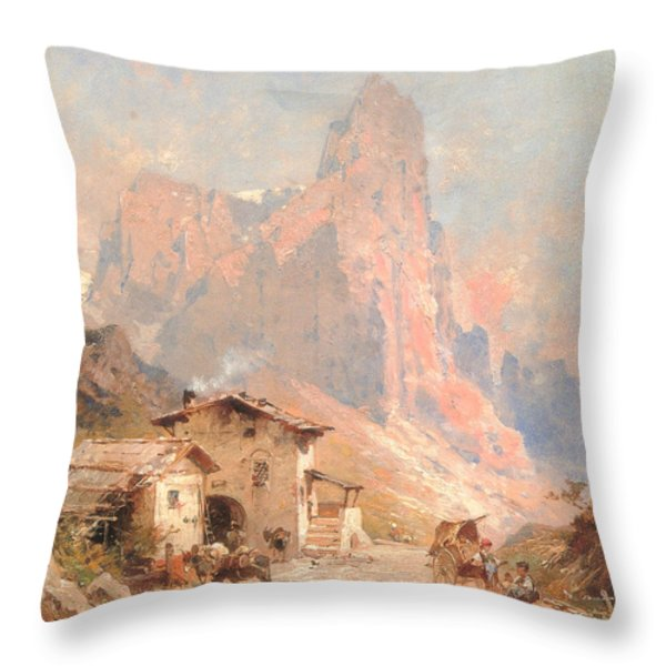 Figures In A Village In The Dolomites Throw Pillow by Franz Richard Unterberger