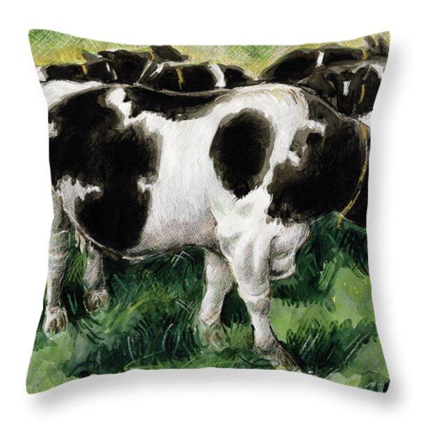 Friesian Cows Throw Pillow by Gareth Lloyd Ball