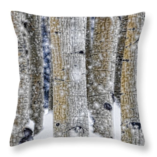 Gently Falling Forest Snow Throw Pillow by Don Schwartz