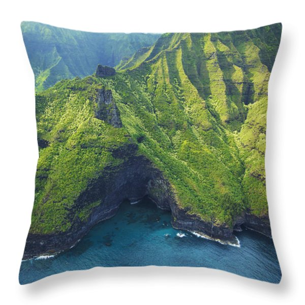 Green Kauai Cavern Throw Pillow by Kicka Witte