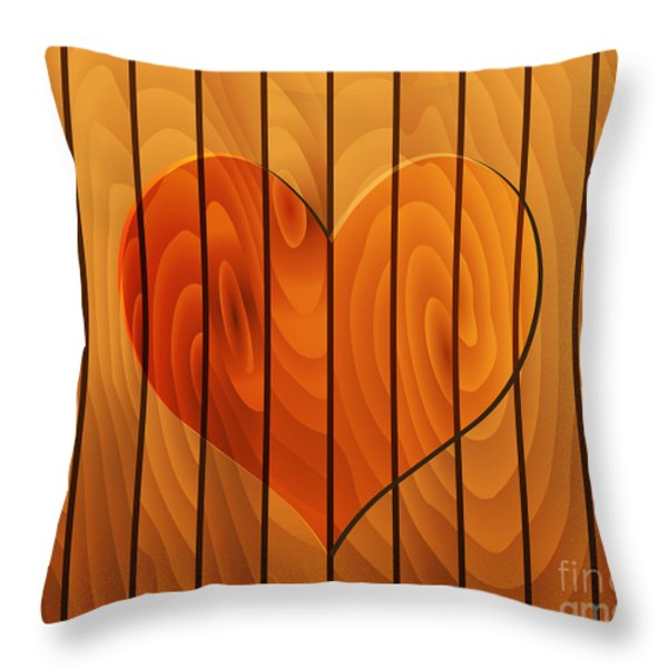 Heart On Wooden Texture Throw Pillow by Michal Boubin