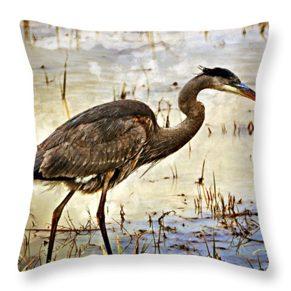 Heron On A Cloudy Day Throw Pillow by Marty Koch