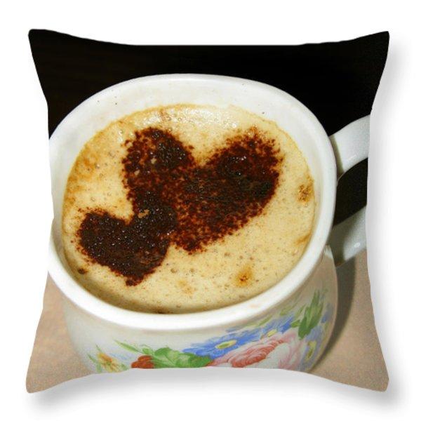 I Love You. Hearts In Coffee Series Throw Pillow by Ausra Huntington nee Paulauskaite