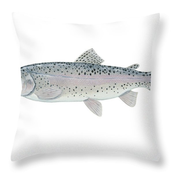 Illustration Of A Steelhead Trout Throw Pillow by Carlyn Iverson