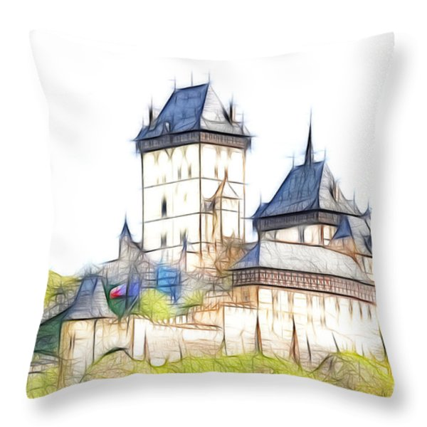 Karlstejn - Famous Gothic Castle Throw Pillow by Michal Boubin